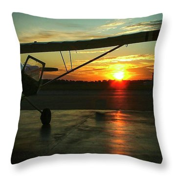 Citabria Peeking Out Of The Hangar Door Throw Pillow