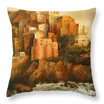 Cinque Terre Lerici Italia Painting Throw Pillow