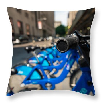 Citibike Handle Manhattan Color Throw Pillow