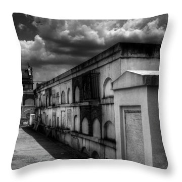 Cities Of The Dead In Black And White Throw Pillow