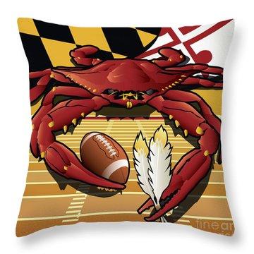 Citizen Crab Redskin, Maryland Crab Celebrating Washington Redskins Football Throw Pillow