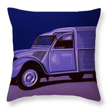 Citroen 2cv Azu 1957 Painting Throw Pillow