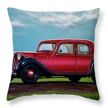 Citroen Traction Avant 1934 Painting Throw Pillow