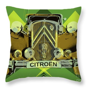 Throw Pillow featuring the digital art Citroen Traction Avant  by Jean luc Comperat