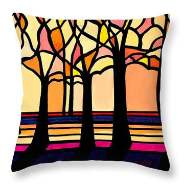 Citrus Glass Trees Throw Pillow