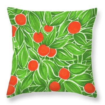 Throw Pillow featuring the drawing Citrus Pattern by Cindy Garber Iverson