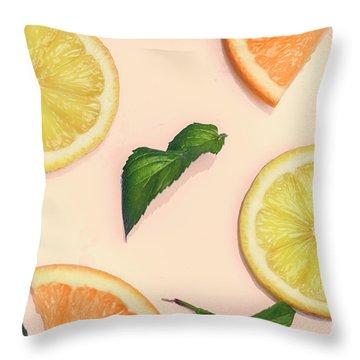 Citrus Pattern On Retro Pink Background Throw Pillow