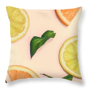 Citrus Pattern On Retro Pink Background Throw Pillow