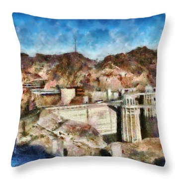 City - Nevada - Hoover Dam Throw Pillow by Mike Savad