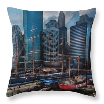 City - Ny - The New City Throw Pillow by Mike Savad