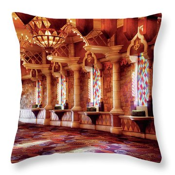 City - Vegas - Excalibur - In The Great Hall  Throw Pillow by Mike Savad