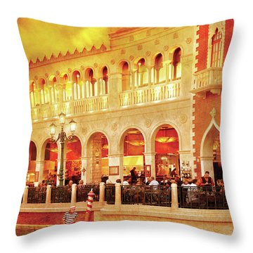City - Vegas - Venetian - Life At The Palazzo Throw Pillow by Mike Savad