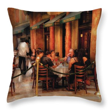 City - Venetian - Dining At The Palazzo Throw Pillow by Mike Savad