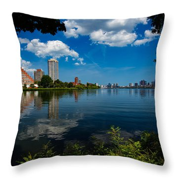 City Along The Charles Throw Pillow