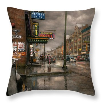 City - Amsterdam Ny -  Call 666 For Taxi 1941 Throw Pillow by Mike Savad
