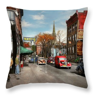 City - Amsterdam Ny - Downtown Amsterdam 1941 Throw Pillow by Mike Savad