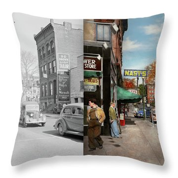 Throw Pillow featuring the photograph City - Amsterdam Ny - Downtown Amsterdam 1941- Side By Side by Mike Savad