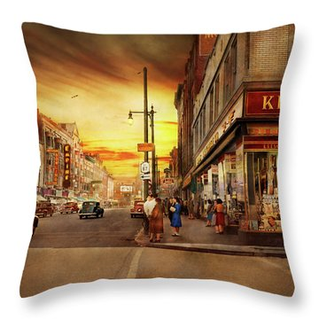 Throw Pillow featuring the photograph City - Amsterdam Ny - The Lost City 1941 by Mike Savad