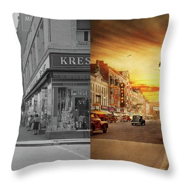 Throw Pillow featuring the photograph City - Amsterdam Ny - The Lost City 1941 - Side By Side by Mike Savad
