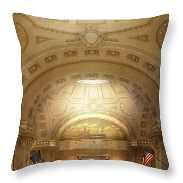 Throw Pillow featuring the photograph City - Annapolis Md - Bancroft Hall by Mike Savad