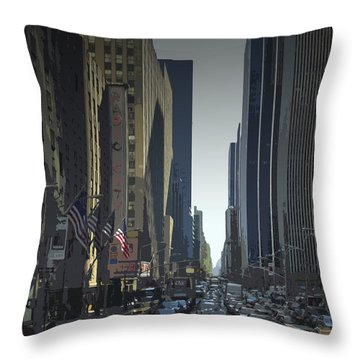 City-art 6th Avenue Ny  Throw Pillow by Melanie Viola