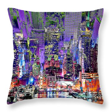 City Art Syncopation Cityscape Throw Pillow by Mary Clanahan