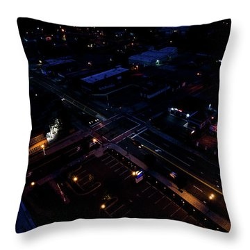City At Night From Above Throw Pillow
