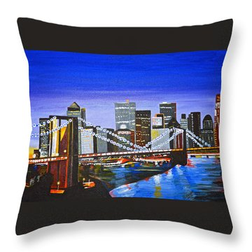 City At Twilight Throw Pillow by Donna Blossom