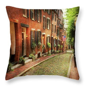 Throw Pillow featuring the photograph City - Boston Ma - Acorn Street by Mike Savad