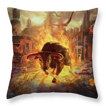 City Bull City Throw Pillow