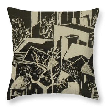 City By Moonlight - Sold Throw Pillow by Judith Espinoza