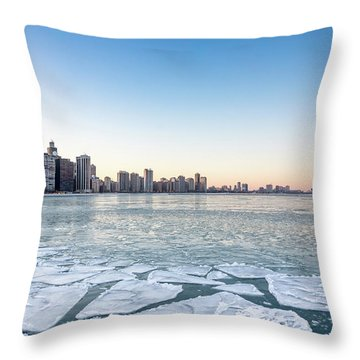 City By The Frozen Lake Throw Pillow