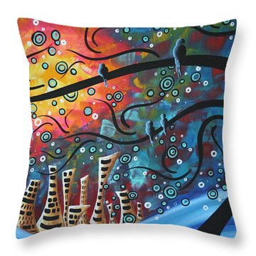 City By The Sea By Madart Throw Pillow