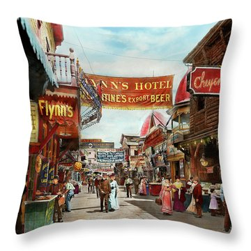 Throw Pillow featuring the photograph City - Coney Island Ny - Bowery Beer 1903 by Mike Savad