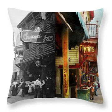 Throw Pillow featuring the photograph City - Coney Island Ny - Bowery Beer 1903 - Side By Side by Mike Savad