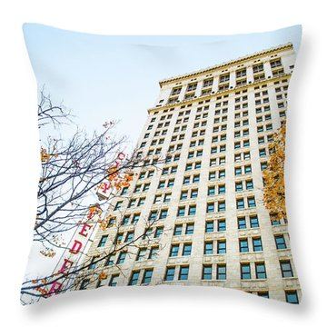 Throw Pillow featuring the photograph City Federal Building In Autumn - Birmingham, Alabama by Shelby Young