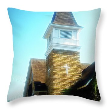 Throw Pillow featuring the photograph City Flare Cathedral Cafe by Aimee L Maher Photography and Art Visit ALMGallerydotcom