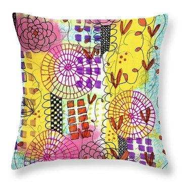Throw Pillow featuring the mixed media City Flower Garden by Lisa Noneman
