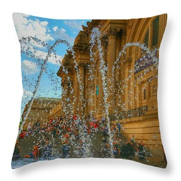Throw Pillow featuring the photograph City Fountain  by Raymond Earley