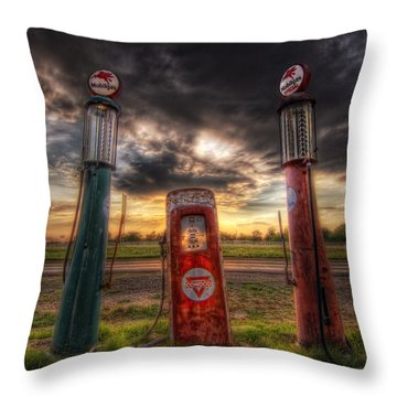 City Garage Sunset Throw Pillow