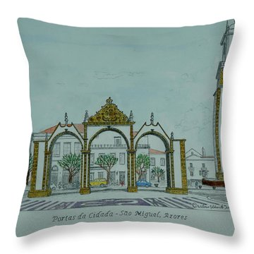 City Gates, San Miguel,azores Throw Pillow