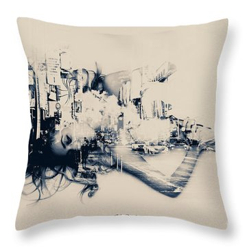 City Girl Dreaming Throw Pillow