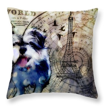 Throw Pillow featuring the digital art City Girl Goes To Paris by Delight Worthyn