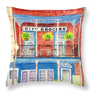 City Grocery Oxford Mississippi  Throw Pillow