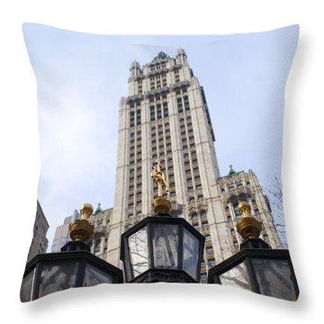 City Hall Area Nyc Throw Pillow by Henri Irizarri