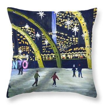 City Hall Christmas Throw Pillow