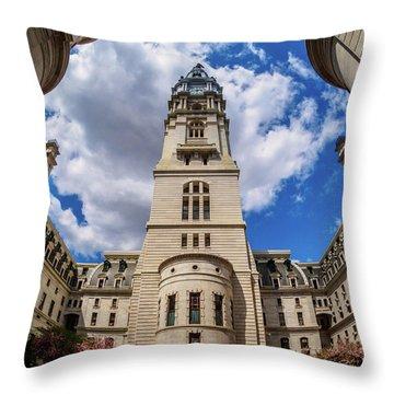 Throw Pillow featuring the photograph City-hall-philadelphia-photo by Louis Dallara