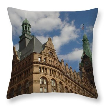 City Hall Roof And Tower Throw Pillow by Anita Burgermeister