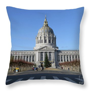 Throw Pillow featuring the photograph City Hall by Steven Spak