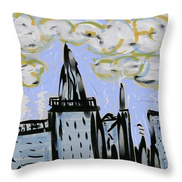 City In Blue Throw Pillow